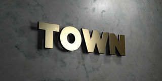 Town - Gold sign mounted on glossy marble wall  - 3D rendered royalty free stock illustration Royalty Free Stock Photography