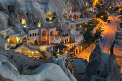 The town Goreme in the night Stock Photos