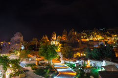 The town Goreme in the night Stock Photography