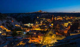 The town Goreme in the night Stock Image