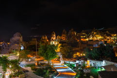 The town Goreme in the night Stock Photo