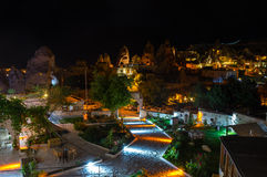 The town Goreme in the night Stock Images