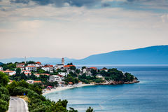 Town of Gradac on Makarska Riviera and Island Brac in Background Stock Photos