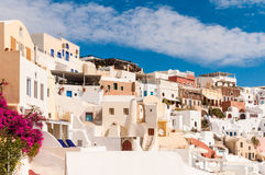 Town on Greek Island of Santorini. Beautiful town on Santorini perched on the side of the cliff Stock Photography
