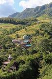 Town in green mountain Stock Photo
