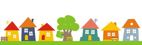 Town, group of houses. Vector icon. Colored silhouette of houses with banch and tree stock illustration