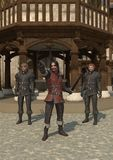 Town Guards. Guards on the streets of a Medieval or fantasy town, 3d digitally rendered illustration Stock Photography
