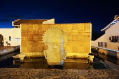 Guatavita, Colombia; 02 03 2019: The town of Guatavita at night, place for the legend of El Dorado and people visiting the tower a. The town of Guatavita at stock image
