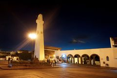 Guatavita, Colombia; 02 03 2019: The town of Guatavita at night, place for the legend of El Dorado and people visiting the tower a. The town of Guatavita at royalty free stock photography