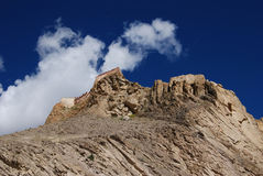 The  town of Gyantse. Tsong Burg, a very  old  castle in Gyantse,Tibet Royalty Free Stock Image