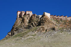 The  town of Gyantse. Tsong Burg, a very  old  castle in Gyantse,Tibet Stock Photos