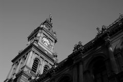 Town Hall. A large clock tower in black and white Stock Photo