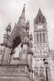Town Hall and Albert Memorial by Noble, Albert Square, Mancheste Royalty Free Stock Image