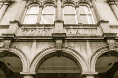 Town Hall, arch and windows. England, Weston-super-Mare - 31 Jan 2016: Town Hall, arch and windows low angle sepia tone Stock Images
