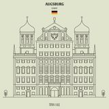 Town Hall of Augsburg, Germany. Landmark icon vector illustration