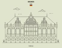 Town Hall in Bremen, Germany. Landmark icon vector illustration