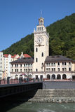 Town hall and bridge in Rosa Khutor Royalty Free Stock Photography
