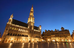 The town hall of Bruxelles, Belgium (night shot) Royalty Free Stock Images