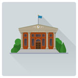 Town Hall building flat design vector illustration Royalty Free Stock Photography
