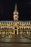Town hall building in Hamburg city by night Royalty Free Stock Photography