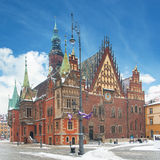 Town hall building (Ratusz) in the Market Square (Rynek Glowny) Royalty Free Stock Photography