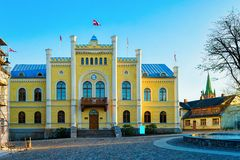 Town Hall in the Central Square in Kuldiga. In Kurzeme in Western Latvia. It used to be called Goldingen royalty free stock photography