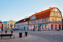 Town Hall at the Central Square in Kuldiga. In Kurzeme in Western Latvia. It used to be called Goldingen stock photo