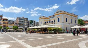 Town hall and central square, Sparta, Greece. SPARTA, GREECE - MAY 26: The centre of the city with the town hall on May 26, 2018 in Sparta. Modern day Sparta Royalty Free Stock Photo