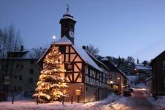 Town Hall and Christmas tree at night Stock Photos