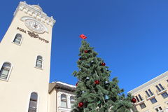 The town hall and the Christmas tree. Stock Photo
