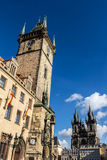 Town hall and Church of Mother of God in front of Týn in Prague, Old Town Square Royalty Free Stock Photo