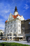 Town hall / City hall, Opava, Czech Republic. Town hall / City hall, Opava, Silesia, Czech Republic / Czechia - main landmark of Silesian town. Pedestrians Royalty Free Stock Image