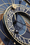 The Town Hall Clock. Also known as the Astronomical Clock. Rebuilt by master clock maker Hanus in 1490 is situated on the Old Town Hall Tower built in 1364 is a Royalty Free Stock Photos