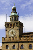 Town hall clock in Bologna Italy. Bologna - Emilia Romagna - Italy - detali of the town hall tower with clock Royalty Free Stock Photography