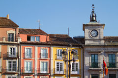 Town Hall Clock in Plaza Mayor of Burgos, Spain Royalty Free Stock Photos