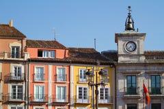 Town Hall Clock in Plaza Mayor of Burgos, Spain. Town Hall Clock in Plaza Mayor (Mayor Square) of Burgos, Castilla y Leon. Spain Royalty Free Stock Photos