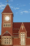 Town hall clock tower. Romanesque-style town hall clock tower, Amherst, Massachusetts Stock Photo