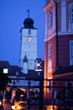 Town Hall Clock Tower. Image showing the famous Town Hall Tower at dawn. The picture is taken from the Liar's Bridge, another major landmark of Sibiu. In the stock photography