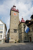 Town Hall clock tower in Lucerne Stock Photo