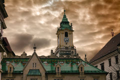 Town hall and dramatic cloudy sky Stock Image
