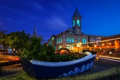 Town Hall. Dun Laoghaire. county Dublin. Ireland. Town Hall at night. Dun Laoghaire. county Dublin. Ireland Stock Photo