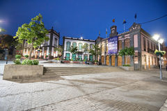 Town hall at dusk in Arucas ancient touristic town, Gran Canaria, Spain on December 2, 2015. Stock Photo