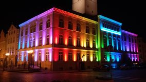 Town Hall. Dzierzoniow town Hall. Christmas lighting, night lights colors of rainbow Royalty Free Stock Photography