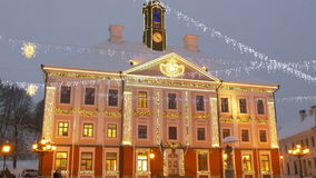 The town hall of Estonia with lights stock video