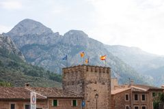 Town hall with flags at the main entrance to Fornalutx village, Majorca Royalty Free Stock Image