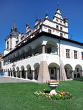 Town hall and flowers in Levoca, Slovakia royalty free stock photography