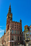 Town hall in Gdansk and the fountain of Neptune Stock Photo