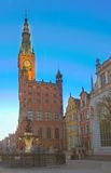 Town hall of Gdansk at night Stock Images
