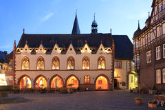Town Hall Goslar. The town hall of Goslar, Lower Saxony, at dusk, market square, arcades in 1450, Old Town, a UNESCO world heritage Stock Photography