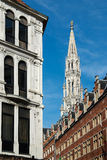Town Hall  gothic tower in Brussels (Belgium) Stock Image
